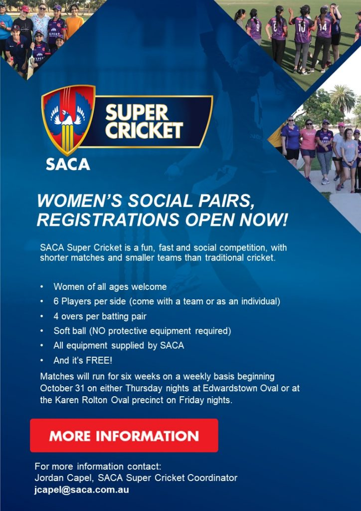 Women's Social Pairs Registrations are now open